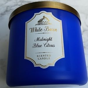 White barn midnight blue citrus mang 3 wick candle